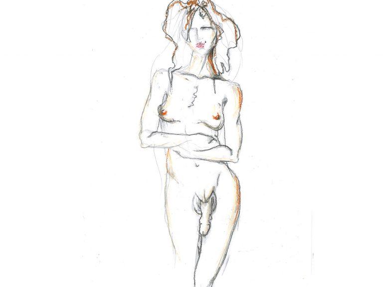Zeichnung einer nackten trans Frau. Steht mit verschränkten Armen und blick nach vorn. Sie hat lange Haare. Ihr Penis und ihre Brüste sind sichtbar.