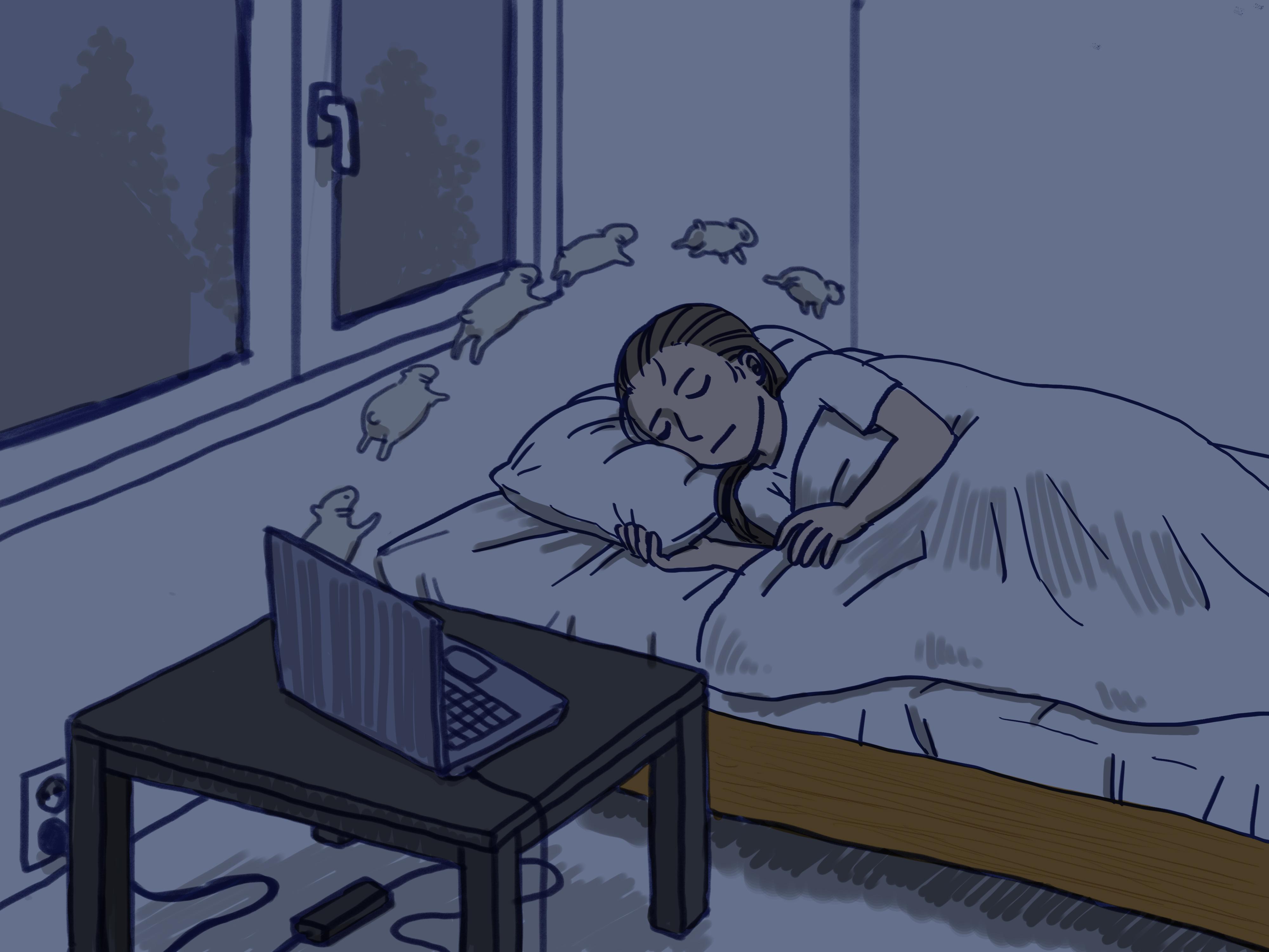 Frau im Bett schlafend, neben dem Bett steht auf einem Tisch ein Laptop aus dem Schafe herausfliegen