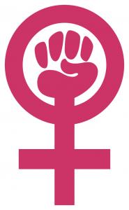 Ein magentafarbenes Venussymbol mit einer Faust im Kreis.