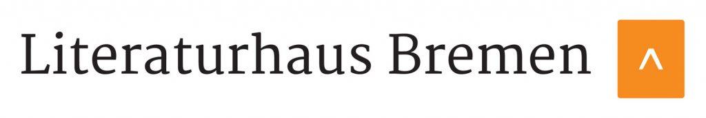 Schwarzer Schriftzug auf weißem Papier. Dort steht Literaturhaus Bremen. Daneben ein orangener Pfeil