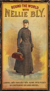 """altes Cover für das Buch und Spiel """"Round the World"""", Frau mit langem Kleid und Reisetasche in der Hand"""