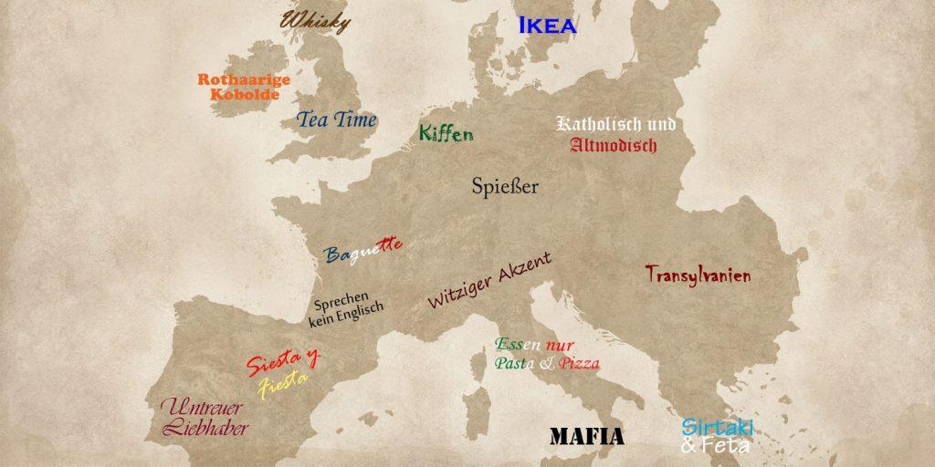 Mit Stereotypen beschriftete Europakarte