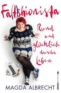 """Buchcover mit dem Titel """"Fa(t)shionista"""" in rot, Magda Albrecht, lachende Frau mit roten Haaren"""
