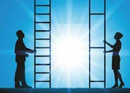 Buchtitel: Bin ich gleichberechtigt? Darauf: Schatten von einem Mann, der eine Leiter in der Hand hält mit vielen Stufen. Rechts steht eine Frau mit einer Leiter in der hand, die wenig Stufen hat und die Abstände sehr groß sind