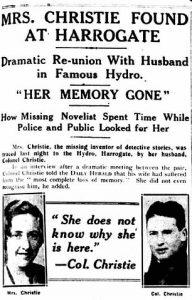 alter Zeitungsausschnitt über das Auftauchen der vermissten Agatha Christie 1926