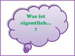 Grüner Schriftzug: Was ist eigentlich in lila Denkblase; Was ist eigentlich Time's Up