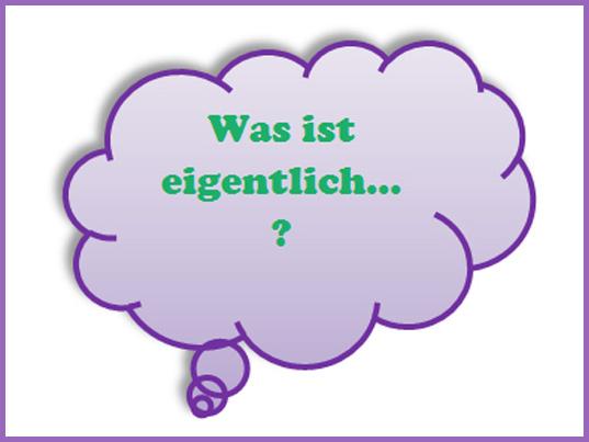 Grüner Schriftzug: Was ist eigentlich in lila Denkblase