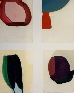 Bilder von Marlies Nittka, Bild mit vier unterschiedlichen, farbigen grafischen Figuren