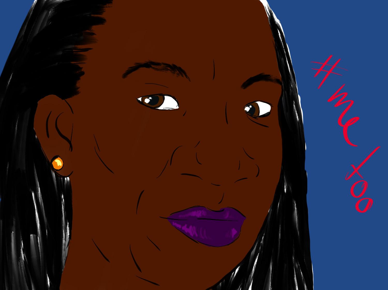 Illustration von Tarana Burkes Gesicht auf blauem Hintergrund, neben ihrem Gesicht steht in roter Schrift #metoo