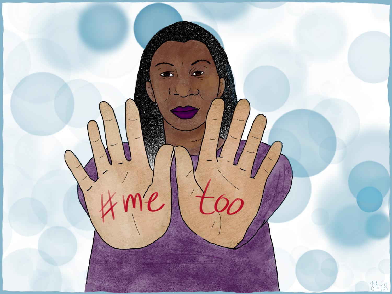 Illustration von Tarana Burke, die ihre Hände ausstreckt auf denen #metoo steht