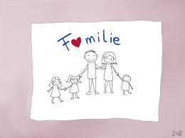 """Auf einem weißen Papier steht in blauer Schrift """"Familie"""". Der Buchstabe A ist durch ein Herz ersetzt. Darunter sieht man ´Vater und Mutter und drei Kinder, die sich alle an den Händen fassen."""