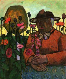 Gemälde mit Frau im Blumenbeet