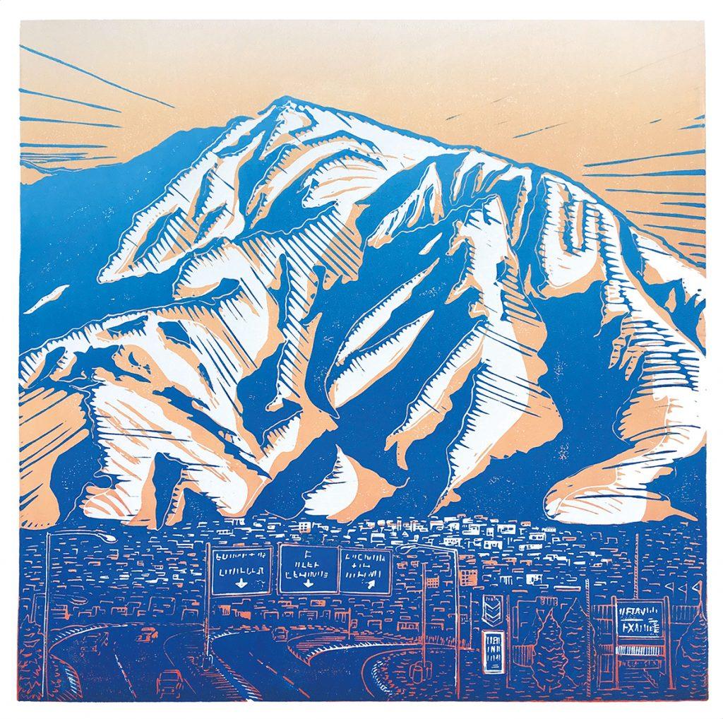 Druck des Mount Olympus, mit Stadt im Vordergrund