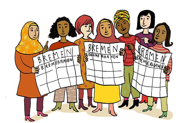 viele geflüchtete Frauen halten Stadtpläne von Bremen und Bremerhaven