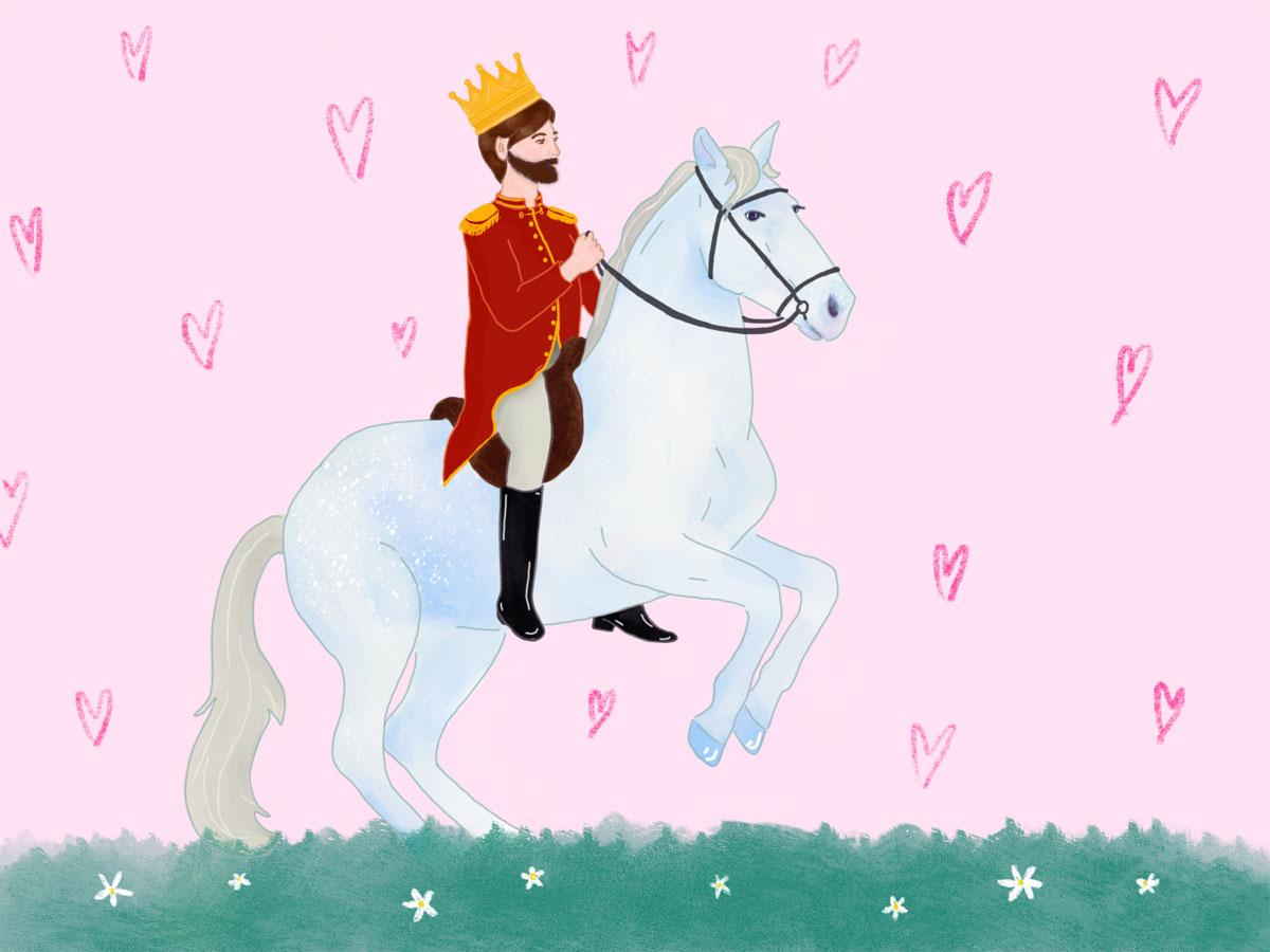 Ein Prinz reitet auf einem weißen Pferd. Er trägt eine Krone und ein rotes Jacket. Der Hintergrund ist ros und darauf sind Herzen gezeichnet. Der Untergrund ist eine Wiese mit weißen Blümchen
