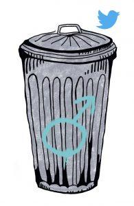 Gezeichnete Mülltonne mit aufgesprühtem Männlichkeits Symbol und Twitter-Vogel