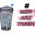 Gezeichnete Abbildung einer Mülltone, mit einem aufgesprühten Männlichkeits Symbol