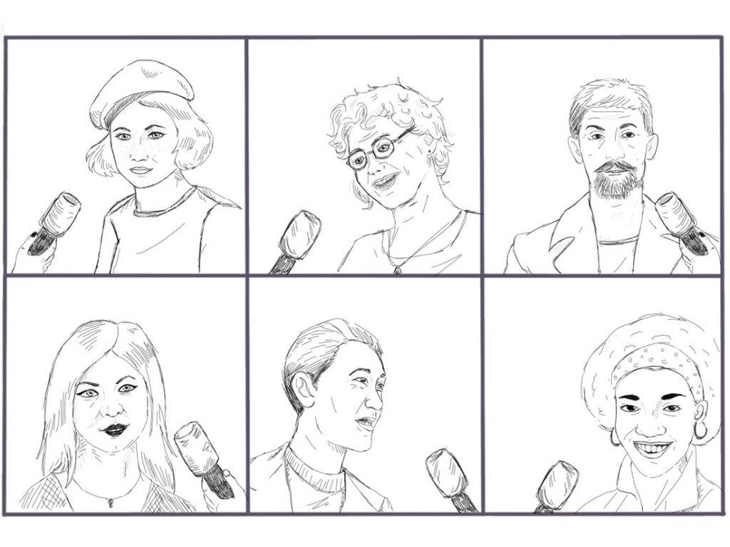 Sechs Einzelportraits von Menschen, die befragt werden, da der Betrachter jeweils ein Mikro sieht