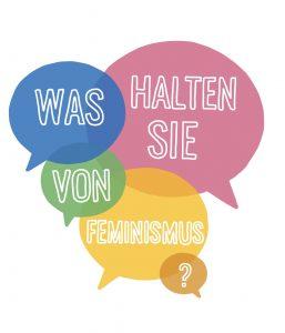 Fünf verschieden farbige Sprechblasen, in denen Was halten sie von Feminismus steht