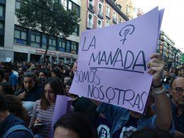 Schild auf dem La Manada Somos Nosotras steht wird auf einer Demonstration hochgehalten
