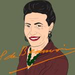 Illustriertes Portrait von Simone Debeauvoir
