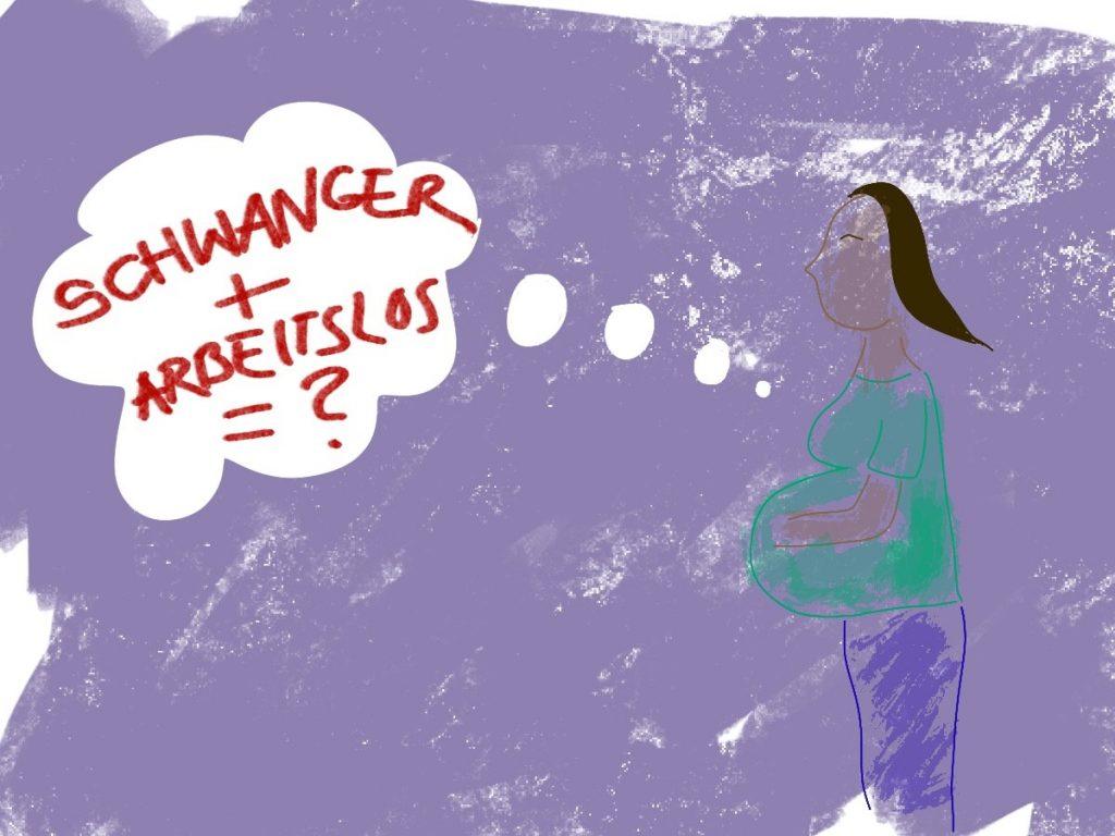 """gezeichnete Schwangere, lila Hintergrund, Denkblase """"Arbeitslos + Schwanger"""", grünes Shirt, lila Hose, schwarze Haare"""