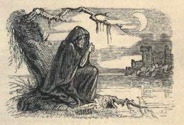 Holzschnitt in schwarz-weiß, eine alte Frau am Ufer eines Sees vor einer Burg