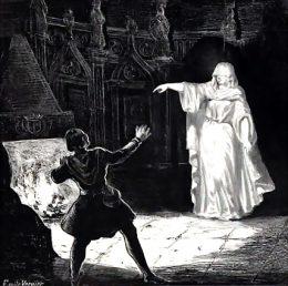 Gemälde in schwarz-weiß von einem weiß gekleideten Geist in Frauengestalt, der einen Mann erscheckt