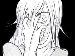 Eine Zeichnung. Der Hintergrund ist schwarz. Im Vordergrund das Gesicht einer Frau, die sich die Hand vor das Gesicht hält. Ihre Fingernägel sind sehr lang. Man sieht ihr linkes Auge, welches groß aufgerissen ist und die Hälft ihres Mundes, der ebenfalls offen steht. Ihr linkes Ohr läuft spitz nach oben, während ihr Gesicht sonst von ihren strähnigen Haaren bedeckt ist. Kurzgefasst: Diese Frau sieht zum Gruseln schön aus.
