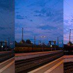 Drei Fotografien von Gleis 1 am Bremer Bahnhof aus zu unterschiedlichen Tageszeiten nebeneinander. Die Bilder werden zunehmend heller, die Hauptfarben des Himmels sind lila blau.