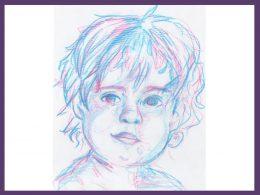 Portraitzeichnung eines Kleinkindes in hellblau und rosa