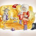 Eine Weihnachtsfrau sitz in gemütlicher Pose mit einem strickenden Rentier auf einem Sofa.