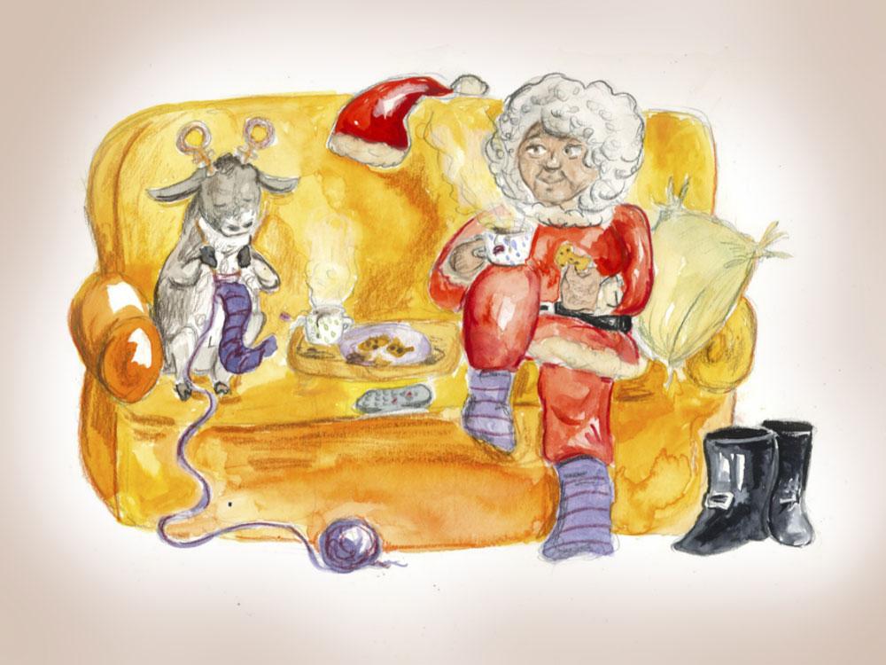 Eine Weihnachtsfrau sitz in gemütlicher Pose mit einem strickenden Rentier auf einem Sofa. Weihnachtszeit