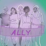 Vier Personen stehe nebeneinander. Vorne ist ein Banner mit dem Wort Ally.