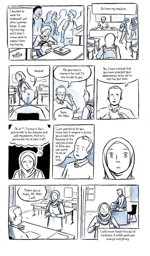 Ein Comic über eine Unterhaltung zwischen Lehrer und Schülerin. Sie hat über die Sommerferien beschlossen, ein Kopftuch zu tragen. Er unterstützt sie bei dieser Entscheidung.