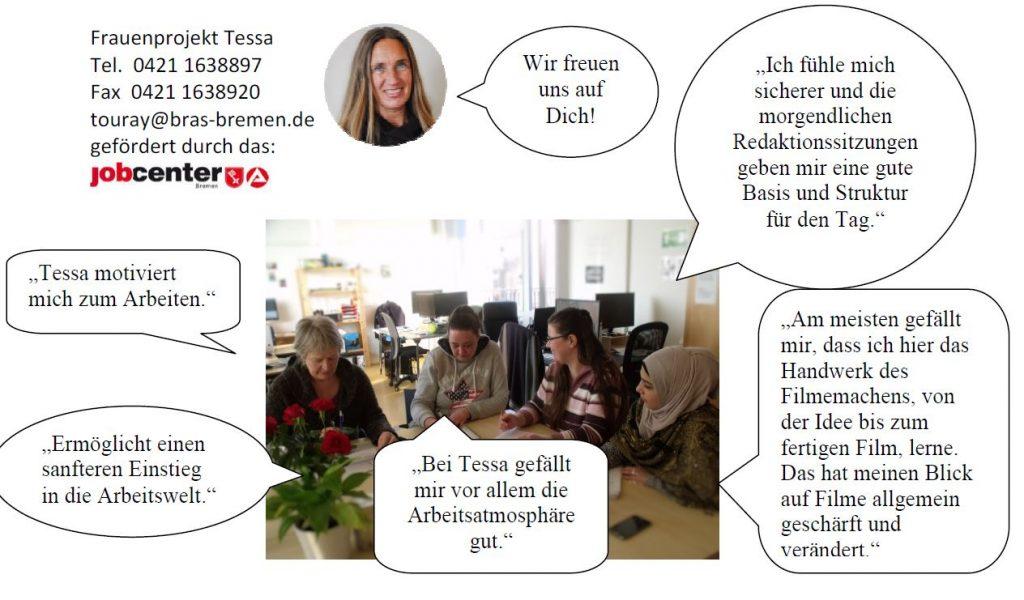 Bild- & Spruchzusammenstellung von bras e. V. über das Frauenprojekt Tessa