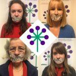 Vier Frauen haben den Mund zugeklebt mit Krepband, auf dem Band steht 219a. In der Mitte ist das frauenseiten bremen Symbol.