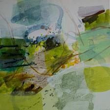 Ein grünes abstraktes Acrylbild Pacific Nord von Karin Kreuser