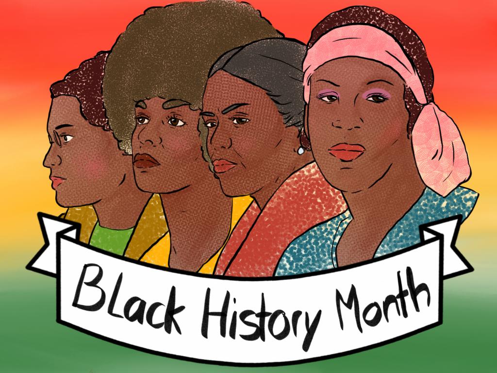 Rosa Parks, Angela Davis, Michelle Obama und Marsha P. Johnson sind als Illustration porträtiert. Vor ihnen ist ein Banner auf dem Black History Month steht.