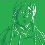 Greta Thunberg mit einer Mütze bei einem grünen Hintergrund