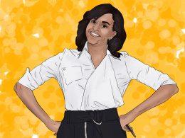 Michelle Obama vor einem gelben Hintergrund