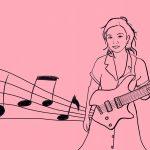 Junge Frau mit einer Gitarre, die linke Hand ist auf dem Bund der Gitarre, rechts sind Noten zu sehen (das Bild ist gezeichnet)