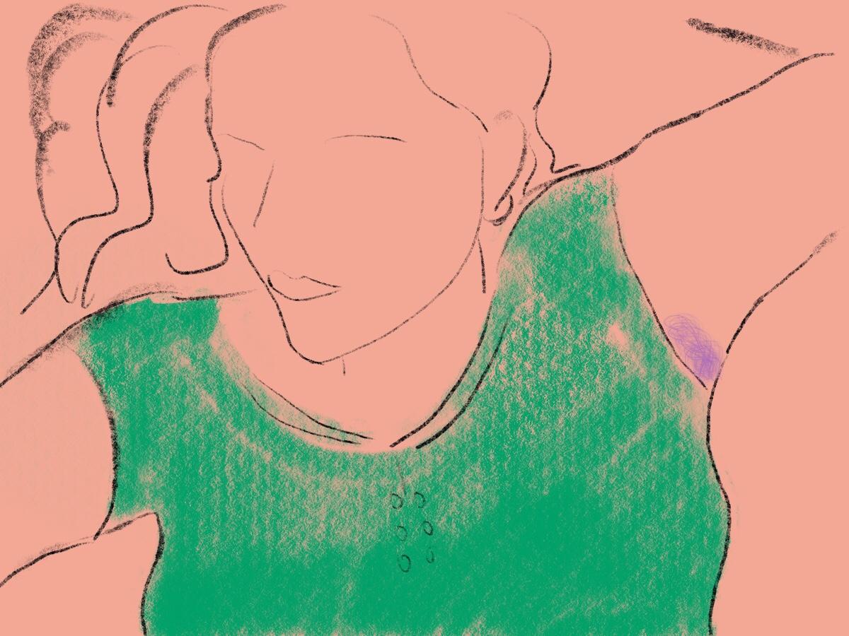 gezeichnete Frau mit langen Haaren und lila Achselhaar
