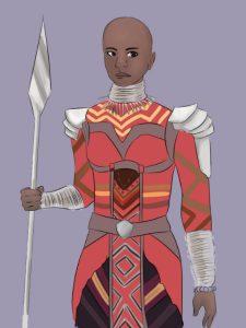 Eine schwarze Frau mit Glatze in einem kriegerischen Kostüm. Sie hält eine Art Schwert in der rechten Hand