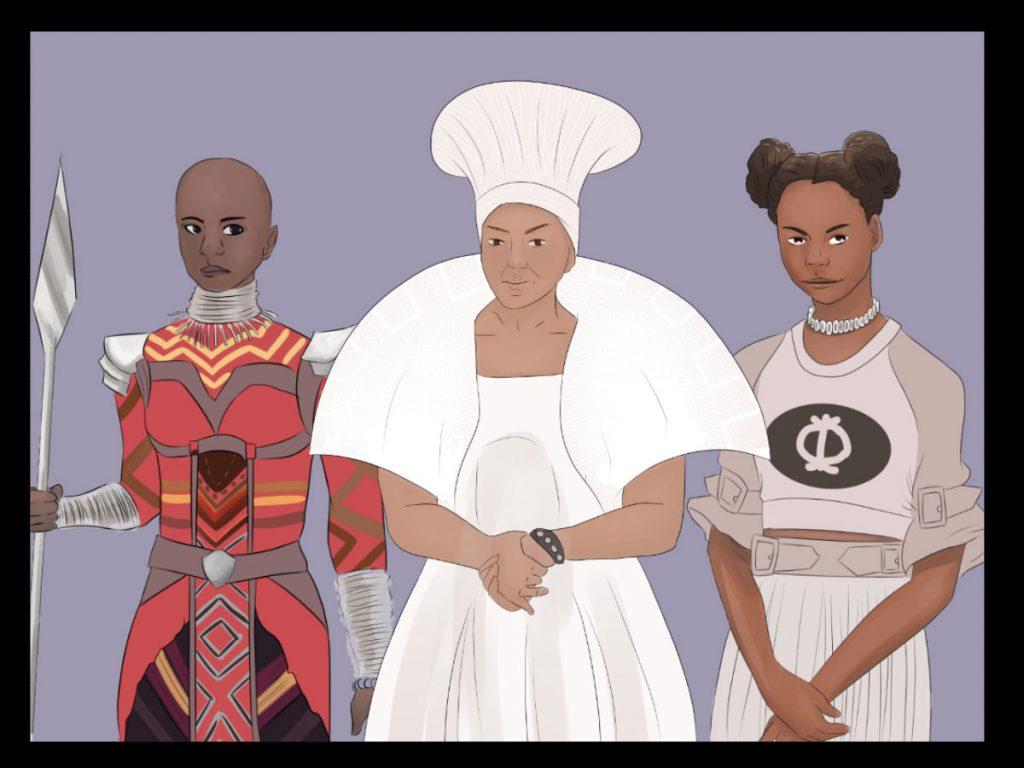 Drei Frauen aus dem Film 'Black Panther' sind hier gezeichnet