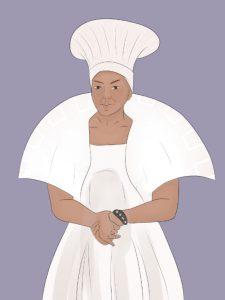 Schwarze Frau in weißem Kostüm