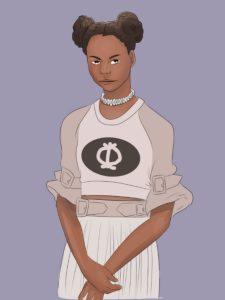 Portrait-Zeichnung einer jungen schwarzen Frau