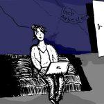 Eine Frau sitzt auf ihrem Bett und hat einen Laptop auf ihren Oberschenkeln liegen, an dem sie tippt. Hinter ihr eine blaue Wand mit Rissen ,auf der geschrieben steht: Geh arbeiten