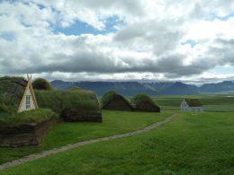 Foto einer Reise nach Island. Es zeigt eine grüne Landschaft mit einigen kleinen Häusern im Bildvordergrund.