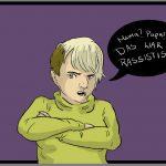 """Illustration im Comicstil einer Person mit verschränkten Armen mit wütendem Gesichtsausdruck. In einer Sprechblase steht der Satz """"Mama? Papa? Das war rassistisch!"""""""
